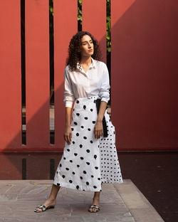 Side Knot Skirt - White & Black