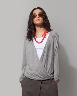 Ukiyo Crossover Top - Soft Grey
