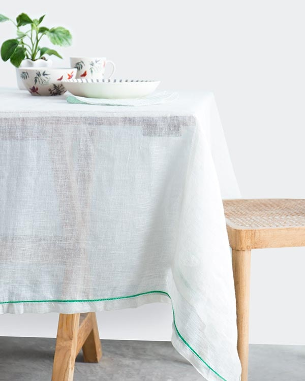 Verandah Classic Table Cloth Large - Ivory & Aqua