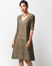 V-Neck Shift Dress - Olive