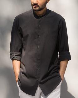 Neil Stripe Shirt - Black & Charcoal