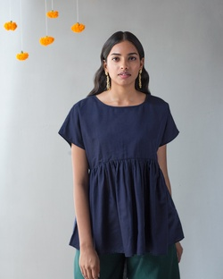 Gathered Top - Blue