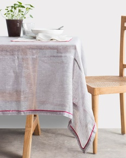 Verandah Classic Table Cloth Small - Grey & Fuchsia
