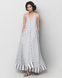 Akira Twist-back Striped Dress