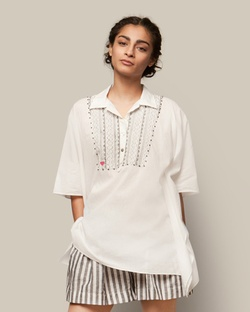 Embroidered Popover - Black on White