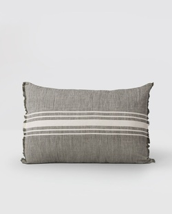 Alleppey French Stripes Pillow - Grey & Ivory