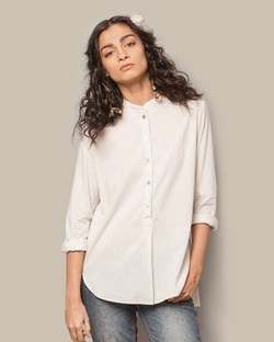 Mandarin Collar Top - Soft Grey