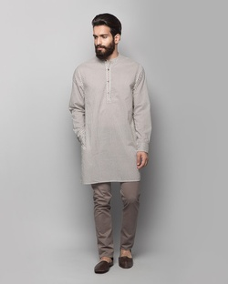 Chandni Chowk Kurta - Charcoal stripe