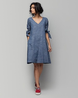 Coco Check Dress - Blue Base