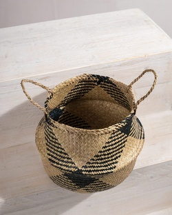 Seagrass Belly Basket - Natural & Black