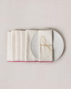 Verandah Dinner Napkins (Set of 6) - Ivory & Fuchsia