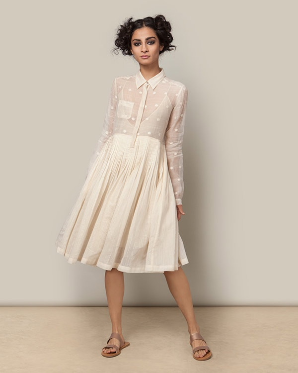 Chanderi Shirt Dress - Ivory