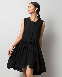 Sora Drop-Waist Dress - Black
