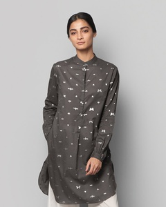 Outhouse Mid-length Kurta - Charcoal