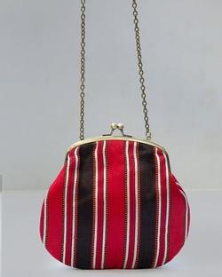 Sling Stripe Clutch - Red & Brown