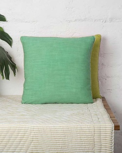 Verandah Reversible Cushion - Aqua & Lime