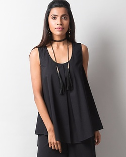 Front Pleat Top - Black