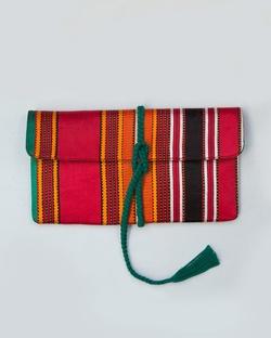 Stripe Flap Clutch- Red & Brown