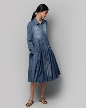 Demi Pleated Shirt Dress
