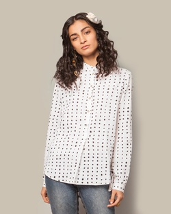 ​Mandarin Collar Top - Polka dot