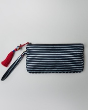Stripes Pouch - Black & Aqua