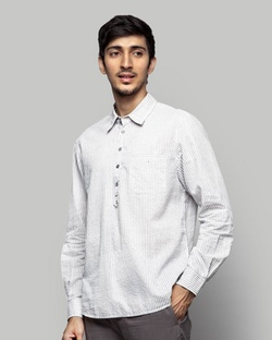 Vagator Stripe Shirt - Dove & White
