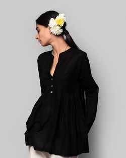 Ambar Peasant Blouse - Black