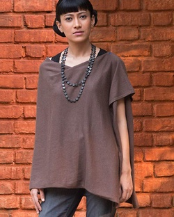 Waterfall Poncho - Taupe