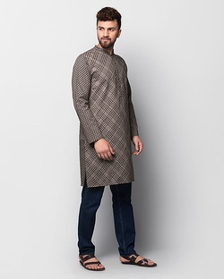 Jaali Cheenth Kurta - Brown