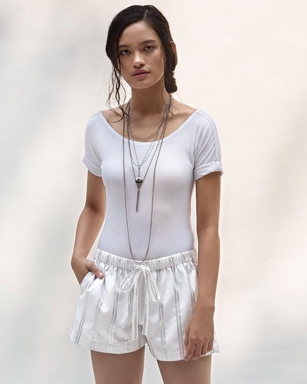 Lounge Stripe Shorts - Silver & White
