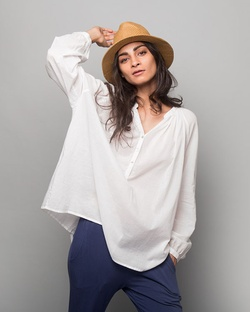 Ukiyo Peasant Top - White