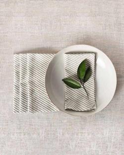 Verandah Stripe Dinner Napkins (Set of 4) - Soft Grey
