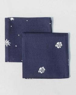 Peony & Stars Pocket Square - Blue (Set of 2)