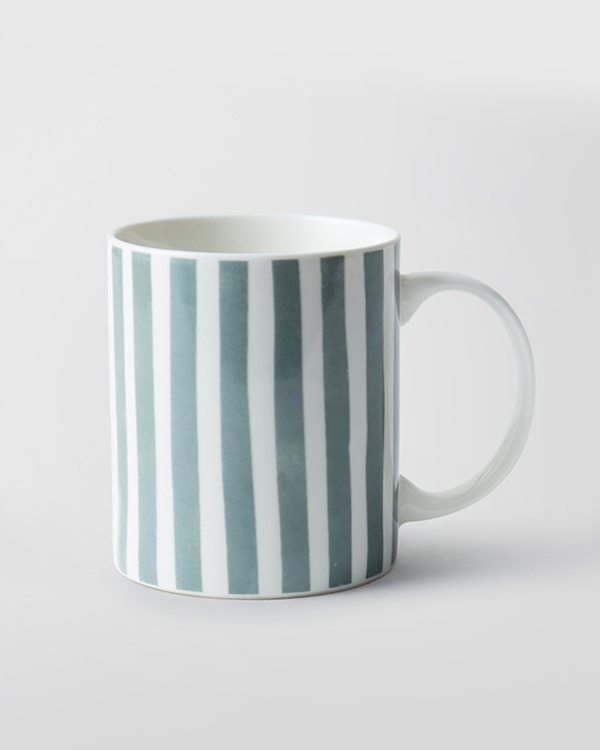 Flora Fauna Stripes Mug - Charcoal