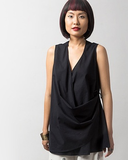 Wrap-front Top - Black