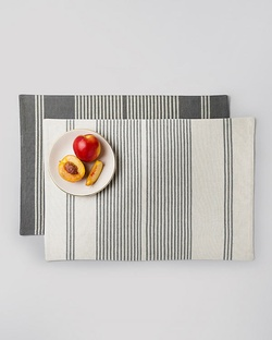 Alleppey Placemat (Set of 2) - Charcoal & Ivory