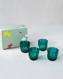 Emerald votives With Scented Tealights (set of 4)