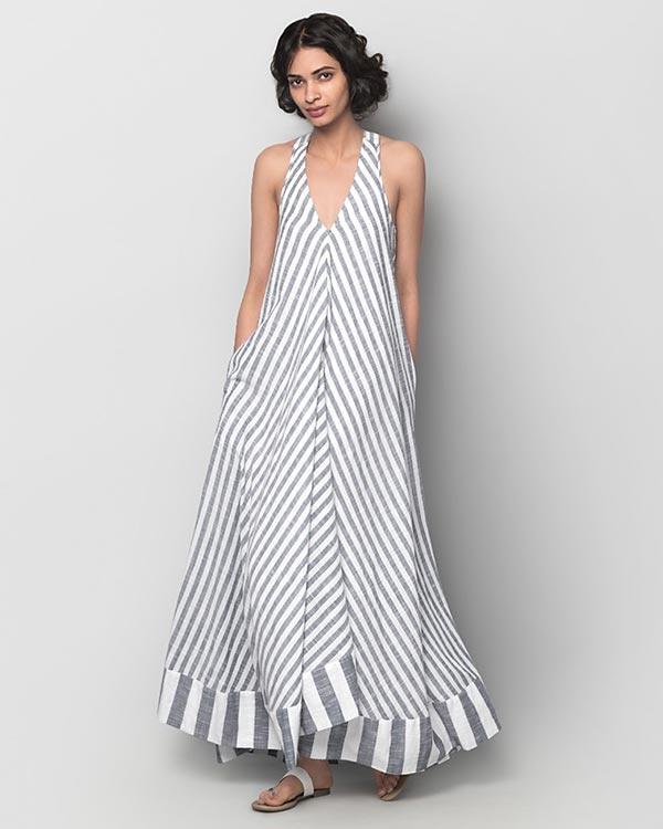 Akira Twist-back Stripe Dress