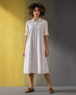 Transit Long Sleeve Dress - Yellow & White