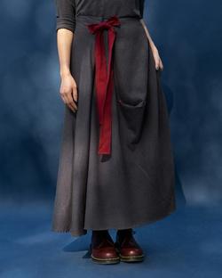 Side Knot Skirt - Charcoal