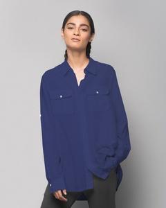 Ukiyo Cotton Silk Shirt - Indigo