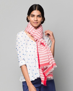 Set It Straight Scarf - Red & White