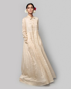 Stella Chanderi Dress - Ivory & Gold