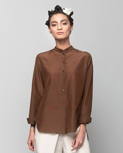Mandarin Collar Heart Top - Brown