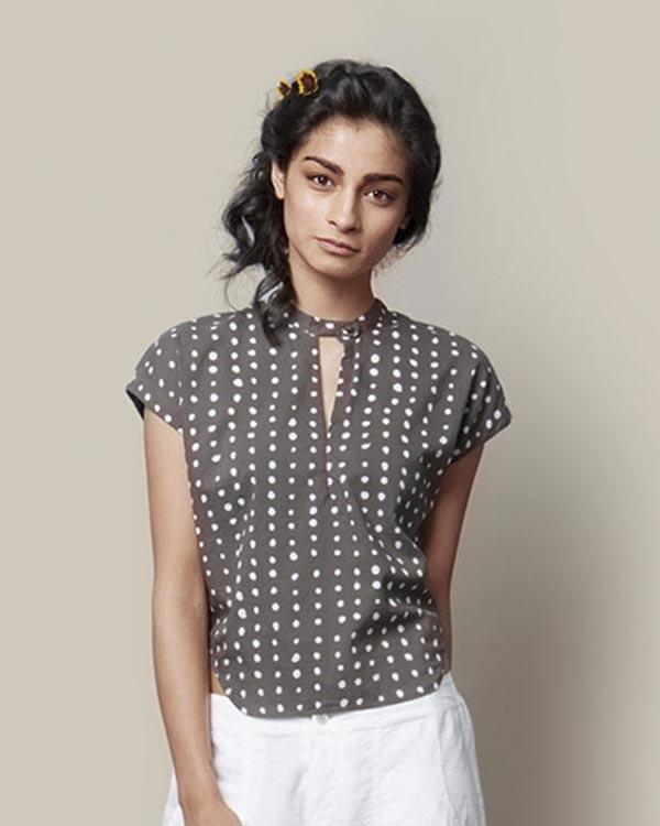 Kimono Top - Grey & White Polka