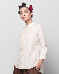 Mandarin Collar Heart Top - Ivory