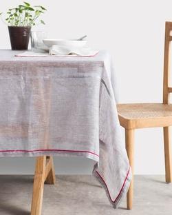 Verandah Classic Table Cloth Large - Grey & Fuchsia