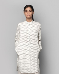 Pewter Mid-Length Kurta - Charcoal Boota