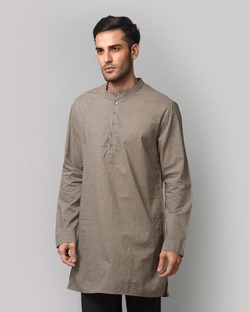 Stripe Cheenth Kurta - Brown