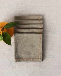 Verandah Cocktail Napkins (Set of 6) - Soft Grey & Tangerine